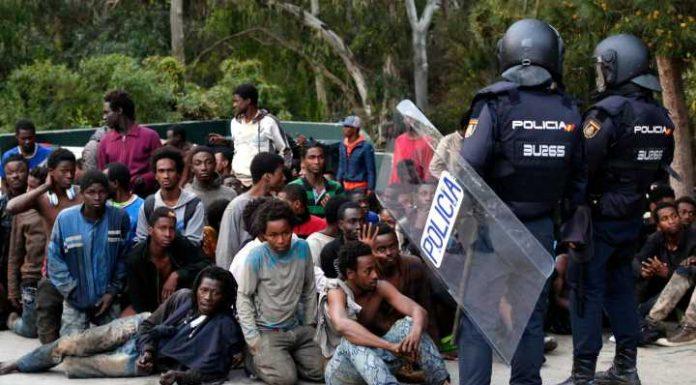 Migrants crossing into Spain