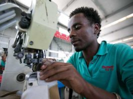 Worker in Tommy Hilfiger's factory in Addis Ababa