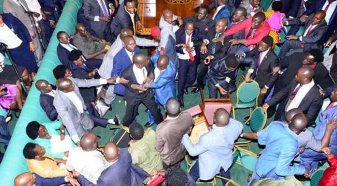 Members of Uganda parliament in free for all fight in parliament ahead of proposed age limit amendment bill