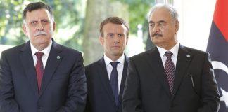 Fayez al-Sarraj, Khalifa Haftar and Macronin Paris