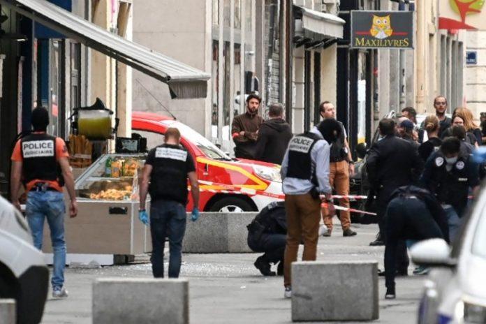 Police in Lyon investigating the blast