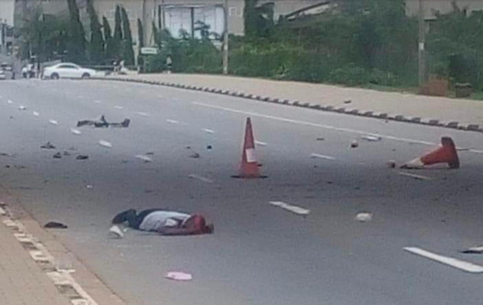 Dead Shiite member lying on the road