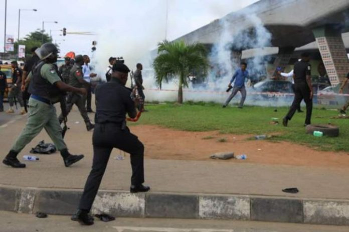 #RevolutionNow protesters teargassed, arrested in Lagos